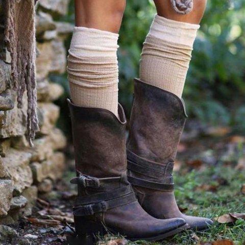 Zipper Chunky Heel Booties Adjustable Buckle Women Mid-Calf Boots