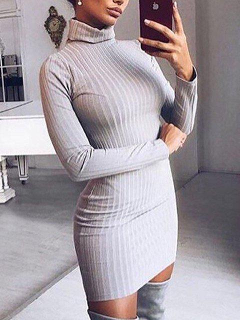 Turtleneck Women Dresses Date Knitted Dresses