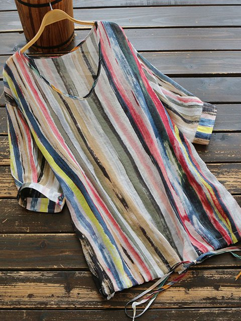 Multicolor Stripes Print Loose Fit Women Blouses