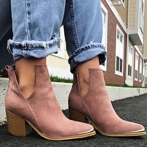 Slip-On Ankle Booties Vintage Elegant Women Boots Plus Sizes