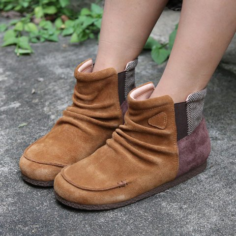 Brown Flat Heel Winter Slip-On Plus Size Womens Boots