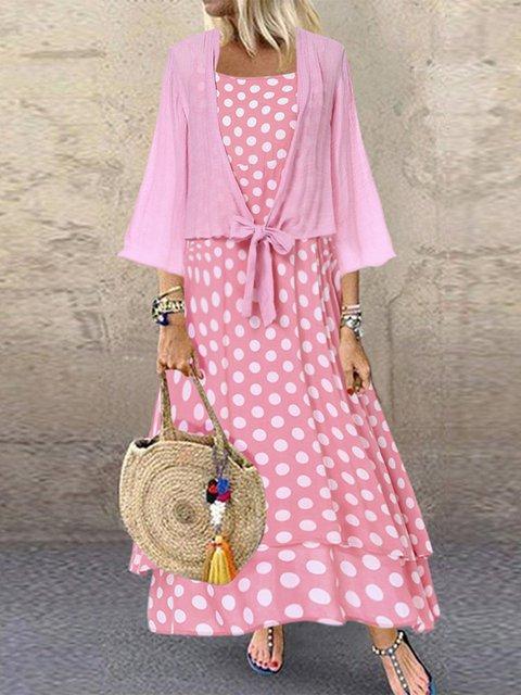 Plus Size Spots Print Two Pieces Women Maxi Dresses