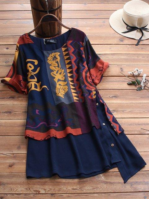 Plus Size Loose Fit Tribal Print Women Tunic Tops