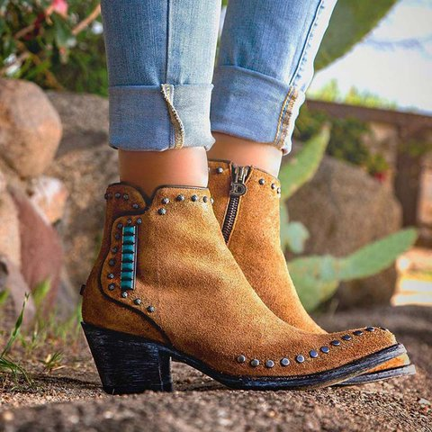Rivet Side Zipper Chunky Heel Ankle Booties