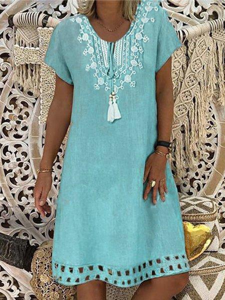 Crew Neck Blue Women Summer Dresses Shift Date Cotton Dresses