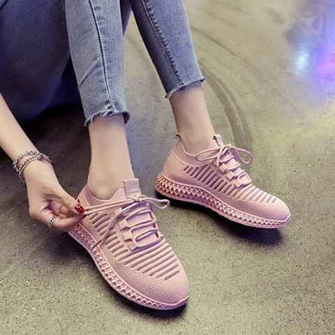Women Round Toe Lace Up Casual Cloth All Season Sneakers