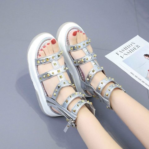 Women Peep Toe Casual Flat Heel Lace-Up Spring/fall Sandals
