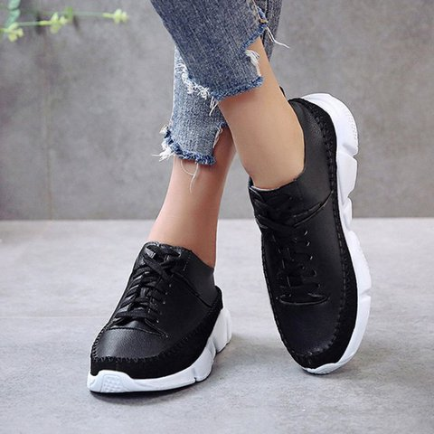 Women Athletic All Season Flat Heel Lace-Up Pu Sneakers