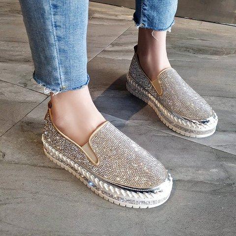 Women Round Toe Slide Rhinestone Pu Flat Heel Casual Loafers