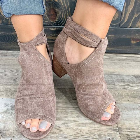 Women Peep Toe Zipper Summer Casual Chunky Heel Sandals