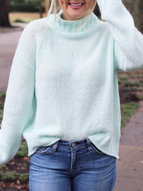 Long Sleeve Casual Turtleneck Knitted Sweaters