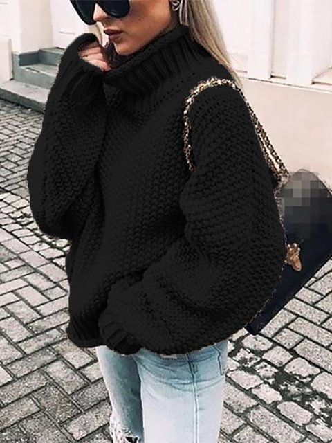 Turtleneck Long Sleeve Solid Sweaters