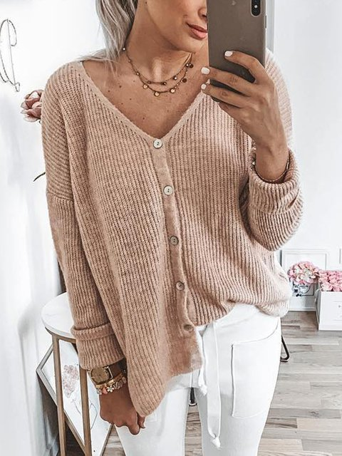 Long Sleeve Knitted Casual Knitted Sweaters