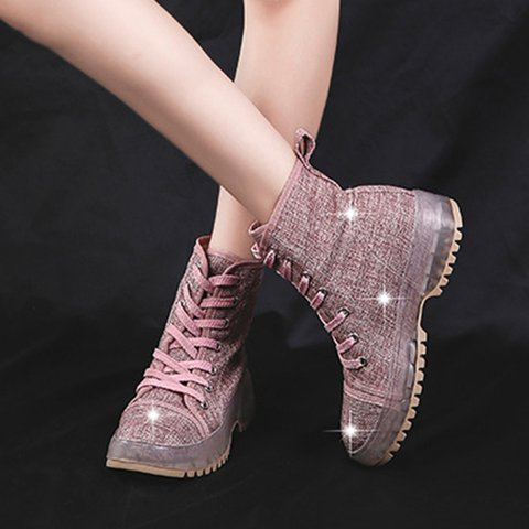All Season Canvas Lace-up Boots Solid Booties
