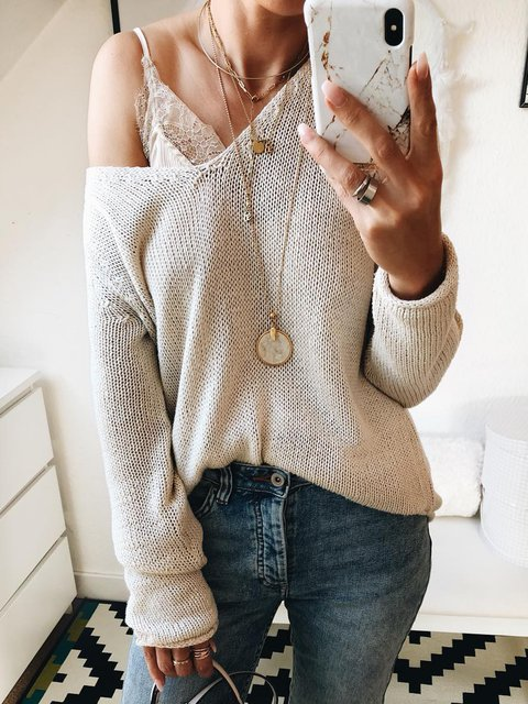 Knitted V Neck Knitted Long Sleeve Sweaters