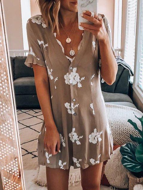 V Neck Women Summer Caftans Shift Daytime Casual Floral Dresses