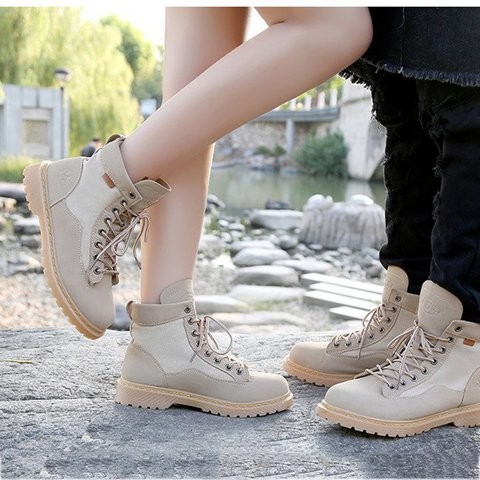 Low Heel Lace-Up Martin Boots Womens Fashion Boots