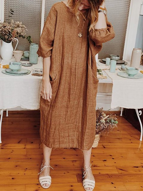 Round Neck Brown Women Dresses Shift Daily Casual Dresses
