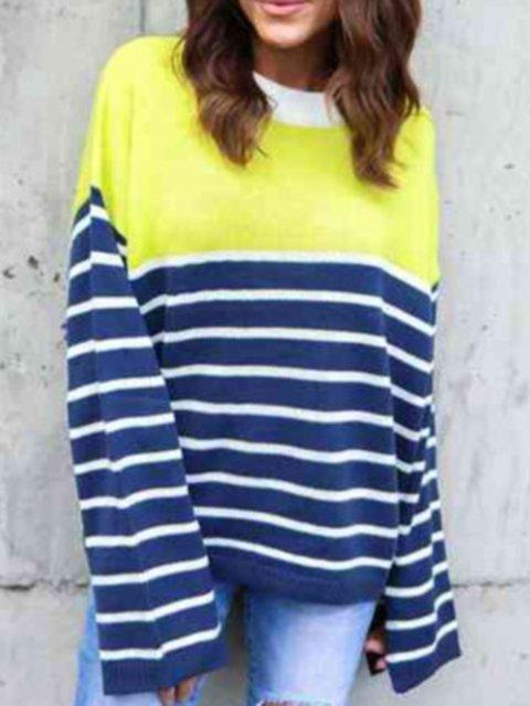Loose Fit Stripe Color Block Women Pullover Sweatshirts