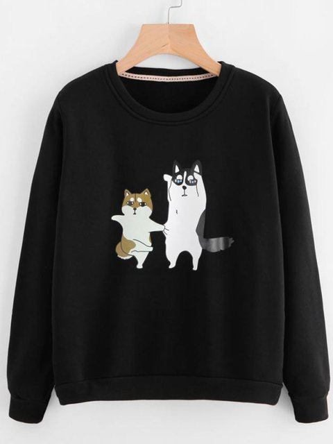 Loose Fit Doggy Print Women Pullover Sweatshirts