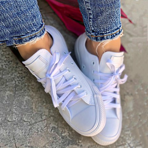 Pu Spring/fall Lace-Up Sneakers Round Toe Shoes