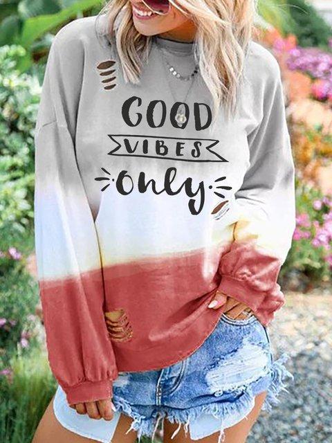 Plus Size Round Neck Letter Casual Sweatshirts