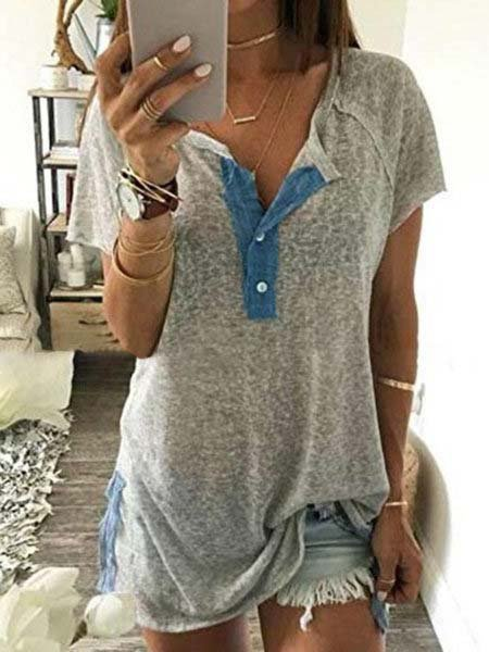 Women Gray V neck Paneled Short Sleeve T-Shirt