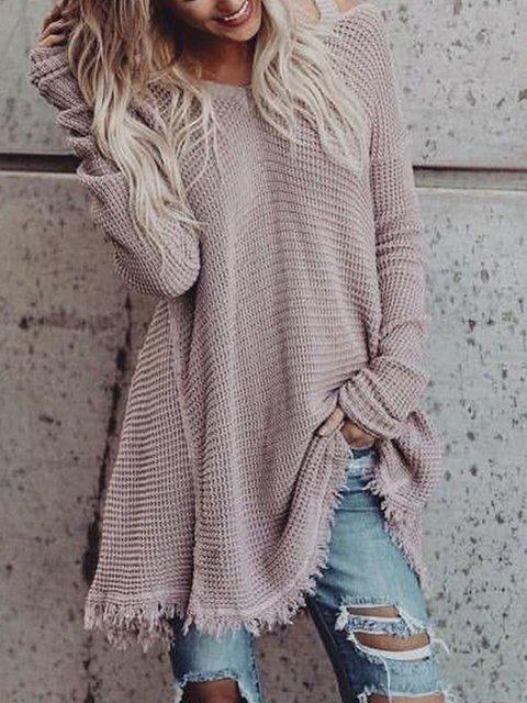 Fringed Knitted Long Sleeve Solid Cotton Tops