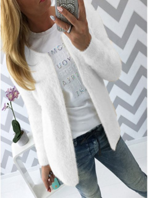 Solid Knitted Sweater Coat Top
