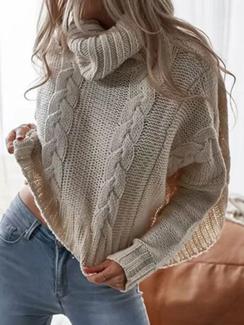 Turtleneck Plain Crocheted Sweater Tops
