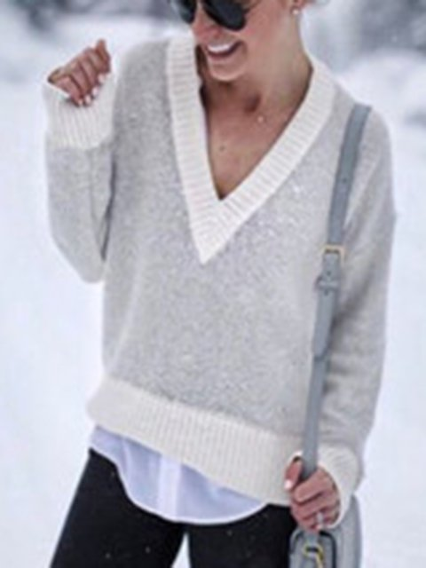V-neck Solid Long Sleeves Knitted Tops
