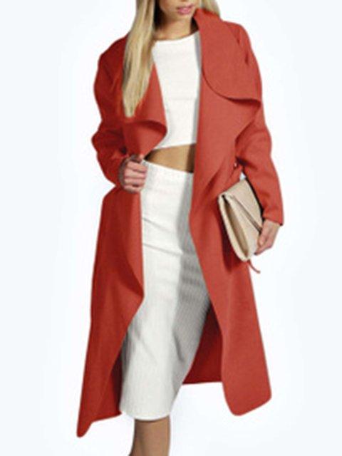 Belt Solid Plus Size Woolen Wind Coat Tops