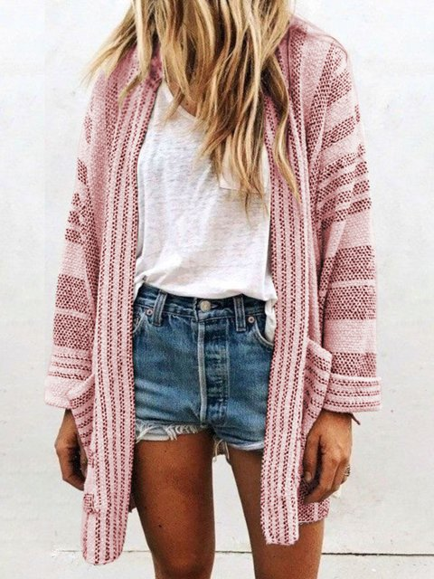 Knitted Pockets Cotton Casual Long Sleeve Sweater