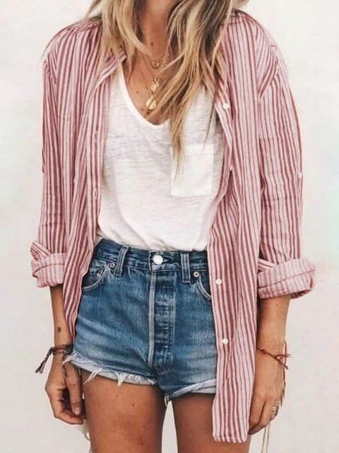 Long Sleeve Stripes Shirt Collar Buttoned Shirts