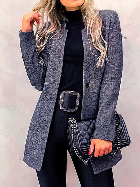 Long Sleeve Plain Basic Outerwear