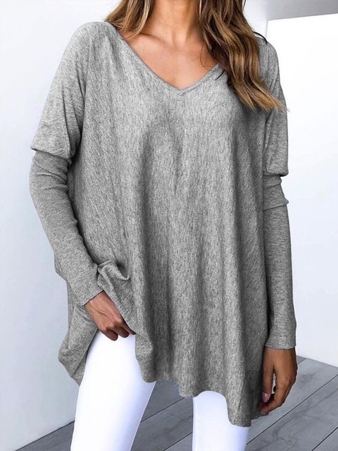Casual Plain V-neck Long Sleeve Shirt