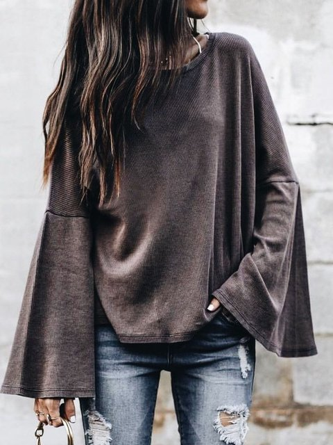 Knitted Paneled Long Sleeve Cotton Solid Tops