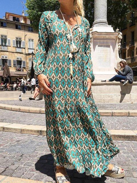 Striped casual loose Geometric dress
