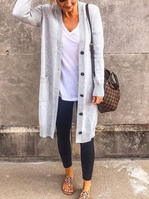 Casual Pockets Knitted Buttoned Long Sleeve Solid Tops