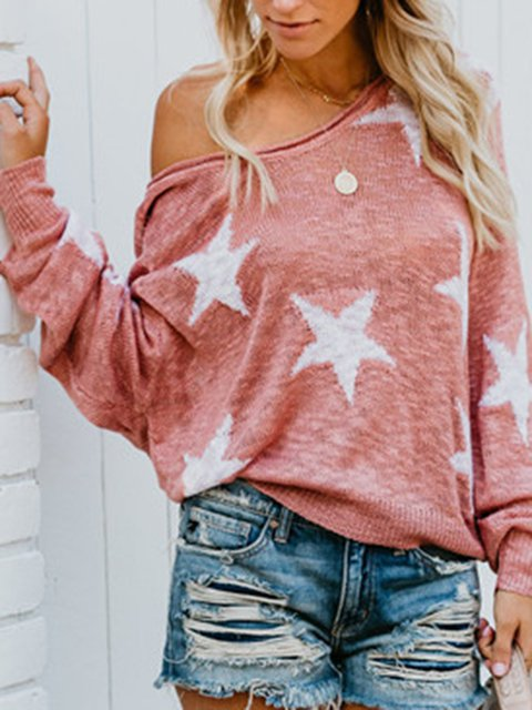 Star Off Shoulder Casual Long Sleeves T-shirt Tops