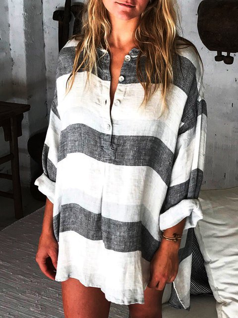 V Neck Striped Casual Shirts & Tops