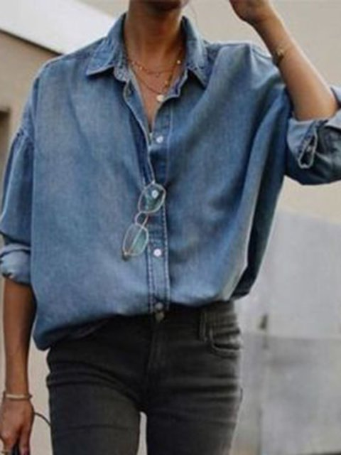 Solid Buttoned Holiday Shirt Collar Shirts