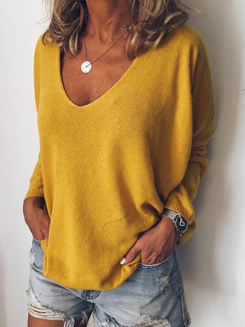 Plus Size Solid Sweater V Neck Knitted Tops