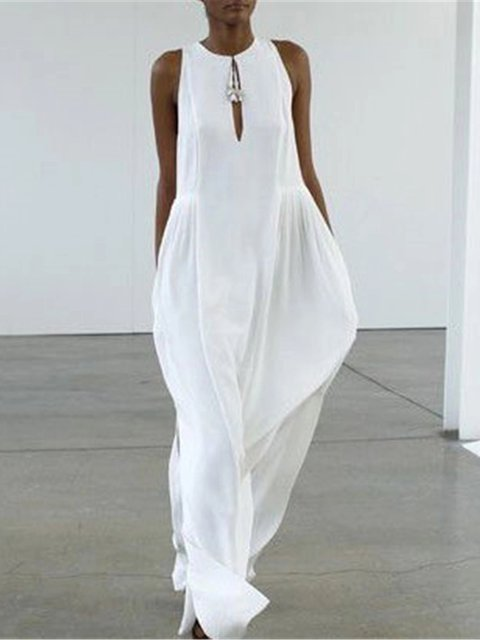 Casual Round Collar Sleevelss Vacation Jumpsuit