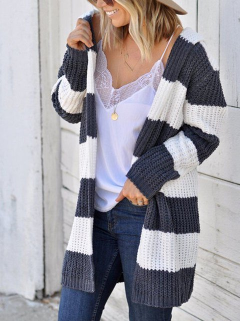 Intercolored Hat Sweater Knitted Coat Tops