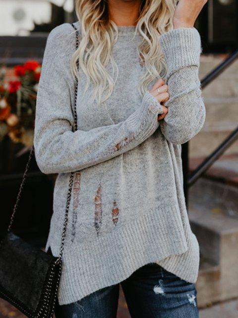 Ripped Cutout Plain Shift Sweater Tops