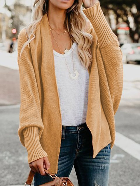 Solid Knitted Long Sleeve Cotton Paneled Tops