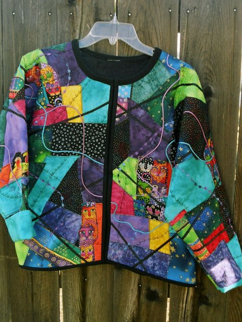 Multicolor Crew Neck Long Sleeve Abstract Statement Tops