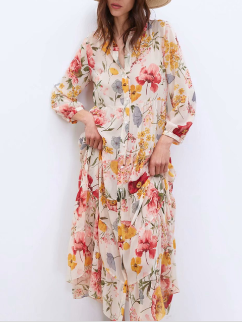 V Neck As Picture Women Dresses Shift Date Casual Floral Dresses