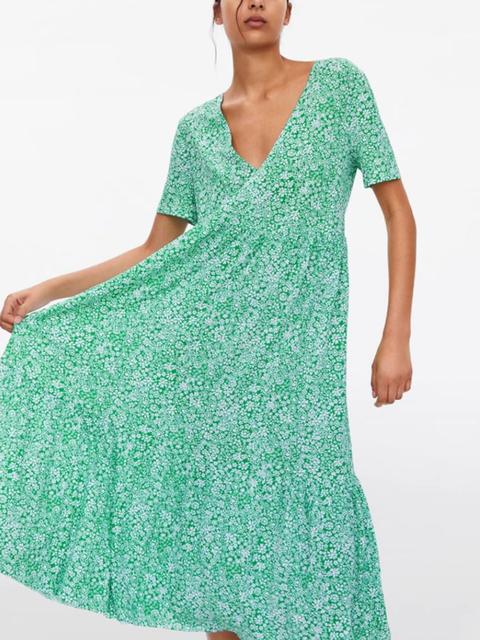 V Neck Green Women Dresses Shift Floral-Print Dresses